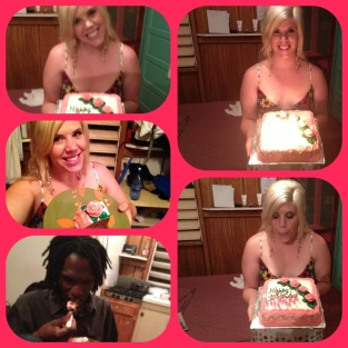 Staci's virtual birthday party...the cake was yummy!